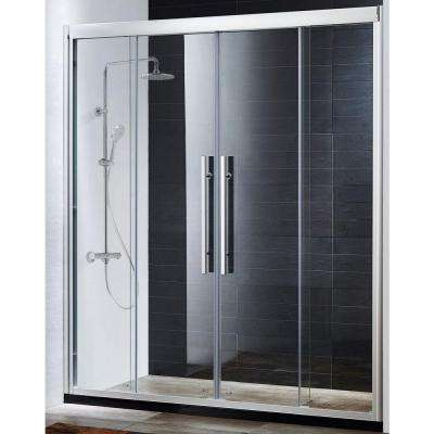 Clarity Premium 59 in. x 72 in. Sliding Shower Door in Chrome with Tempered Clear Glass
