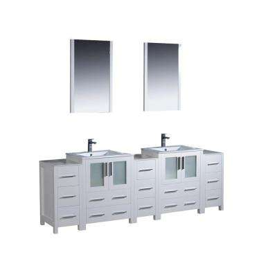 Torino 84 in. Double Vanity in White with Ceramic Vanity Top in White with White Basin with Mirrors and Side Cabinets