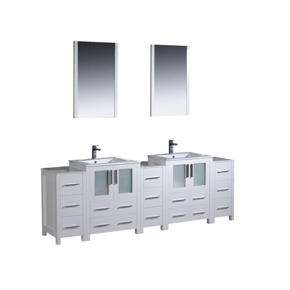 Fresca Torino 84 In Double Vanity White With Ceramic Top