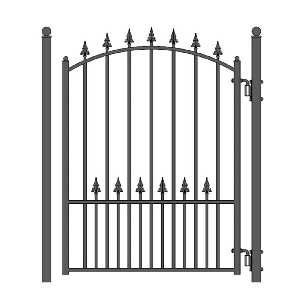 Munich Style 4 ft. x 5 ft. Black Steel Pedestrian Fence Gate