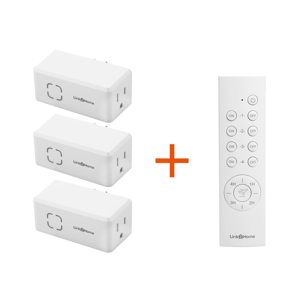 Link2Home Link2Home Wireless Indoor Remote Control Outlet Switch with Countdown Timer and Random/Away Mode - 3 RCVs and 1 Remote, White