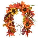 38 in. Harvest Mail Box Swag with Sunflowers and Maple Leaves