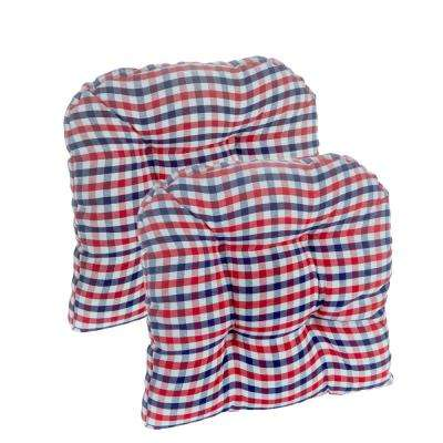 Gripper Gingham Red, White & Blue 15 x 15 Universal Chair Cushion (set of 2)