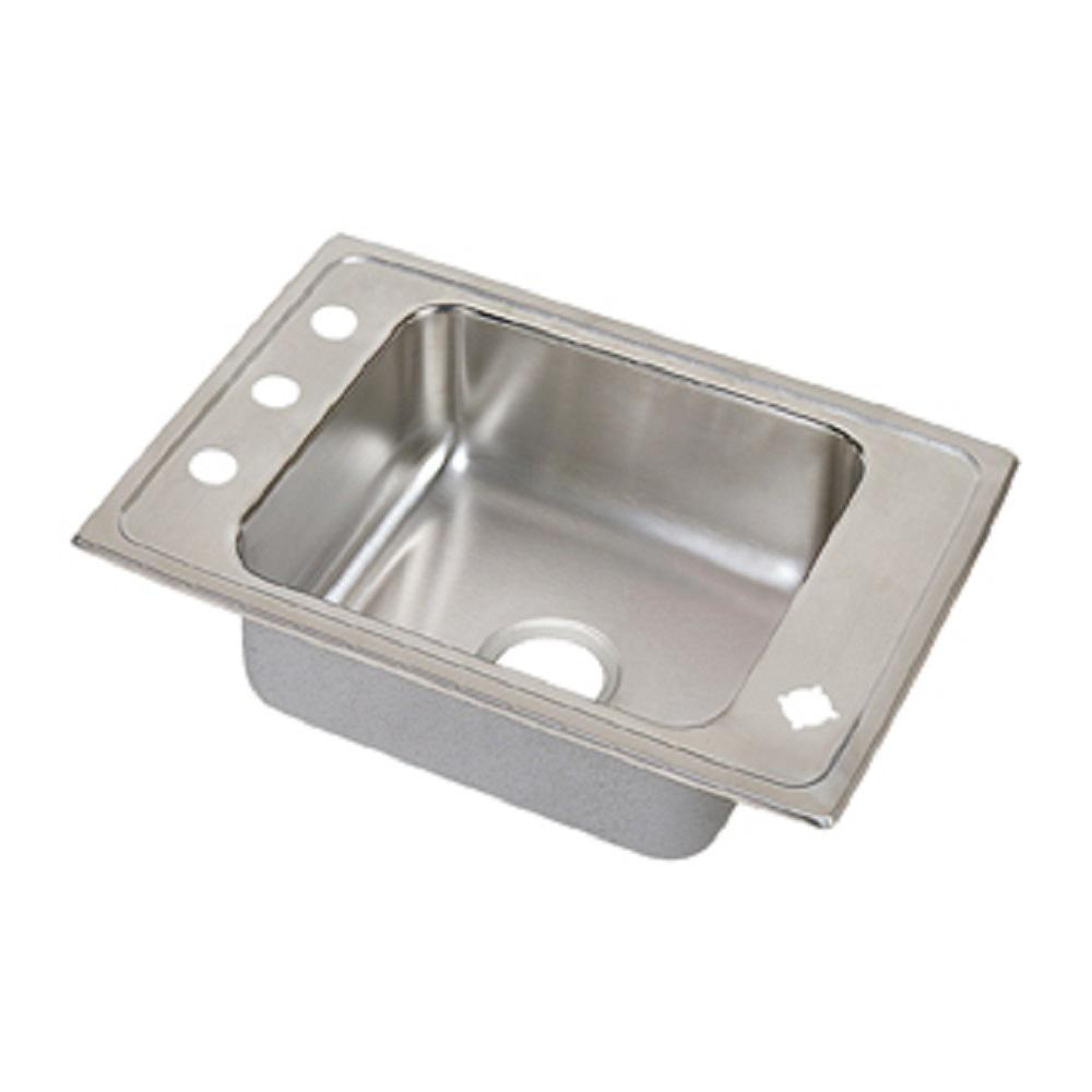 Elkay Lustertone Drop-In Stainless Steel 24.37 in. 4-Hole Single Bowl ADA Compliant Classroom Sink with 4.5 in. Bowl