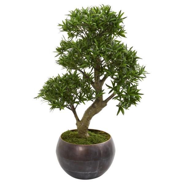 Nearly Natural 37 In Podocarpus Artificial Bonsai Tree In Metal Bowl 9494 The Home Depot
