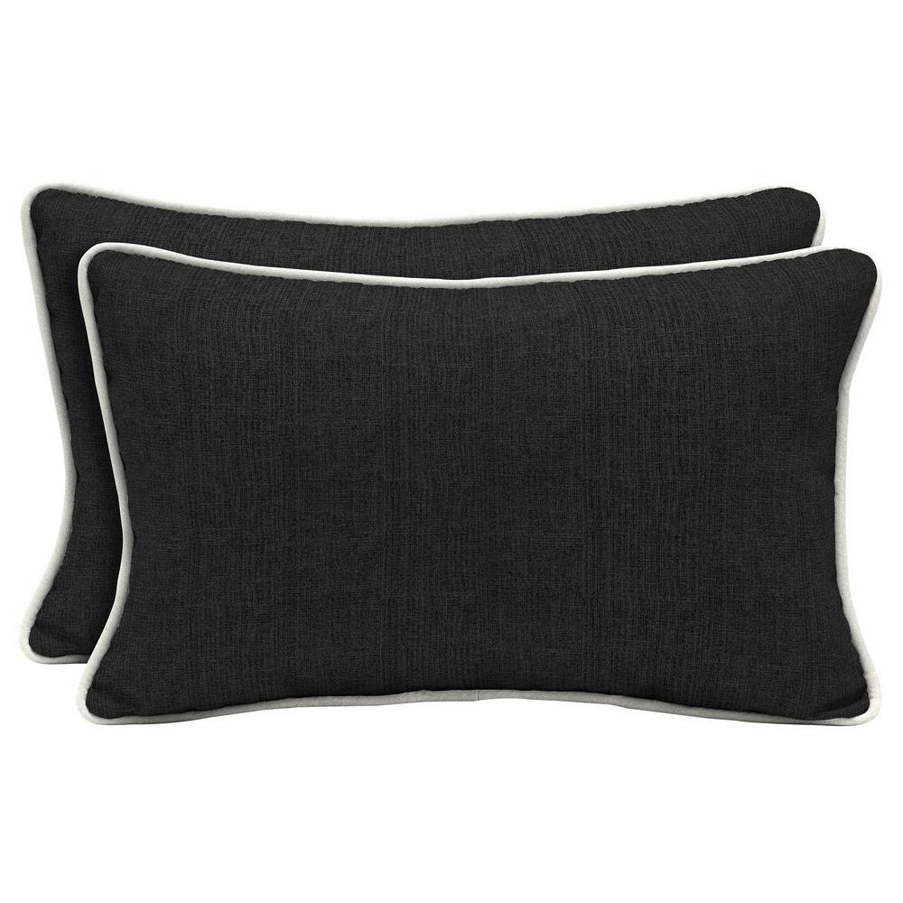 Home Decorators Collection Sunbrella Canvas Black Lumbar Outdoor Throw Pillow (2-Pack)