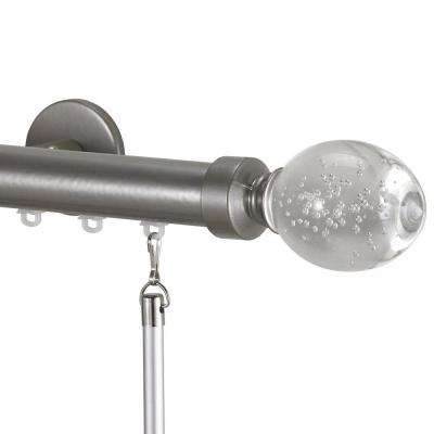 Tekno 25 Decorative 132 in. Traverse Rod in Antique Silver with Trans Lu Finial