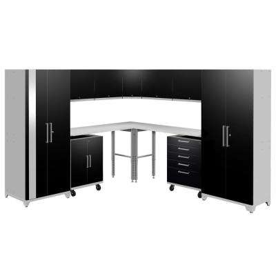 Performance Plus 2.0 80 in. H x 213 in. W x 24 in. D Steel Garage Cabinet Set in Black (12-Piece)