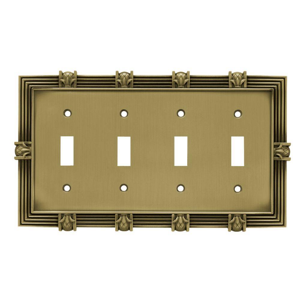 Liberty Pineapple Decorative Quadruple Switch Plate, Tumbled Antique Brass