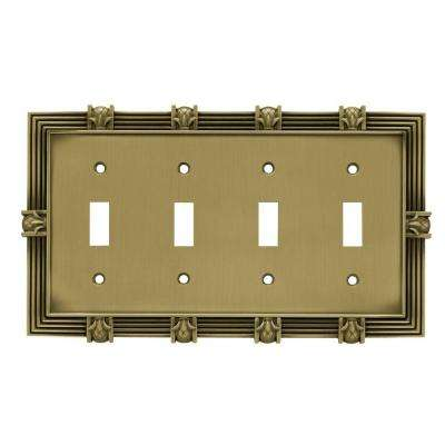 Pineapple Decorative Quadruple Switch Plate, Tumbled Antique Brass
