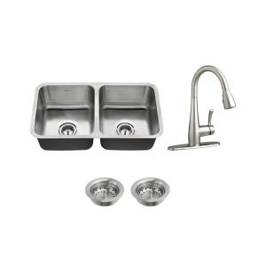 american standard all in one undermount stainless steel 32 in  50 50 double bowl kitchen sink with faucet in stainless steel 7733002 075   the home depot american standard all in one undermount stainless steel 32 in  50      rh   homedepot com