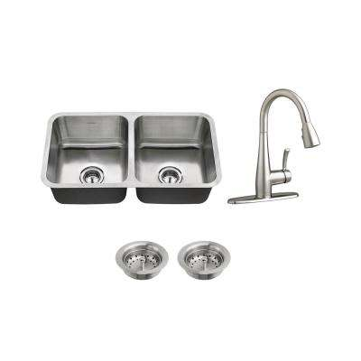 All-in-One Undermount Stainless Steel 32 in. 50/50 Double Bowl Kitchen Sink with faucet in Stainless Steel