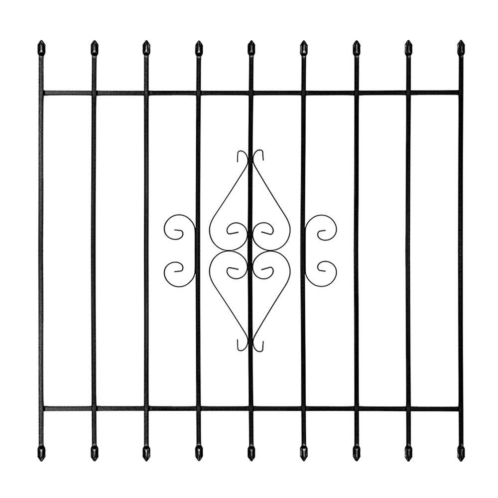 Unique Home Designs 48 In. X 48 In. Su Casa Black 9 Bar Window  Guard 5WG200BLACK4848   The Home Depot