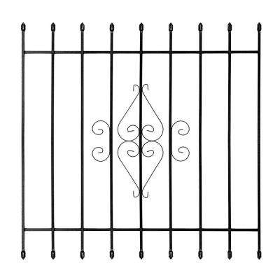 48 in. x 48 in. Su Casa Black 9-Bar Window Guard