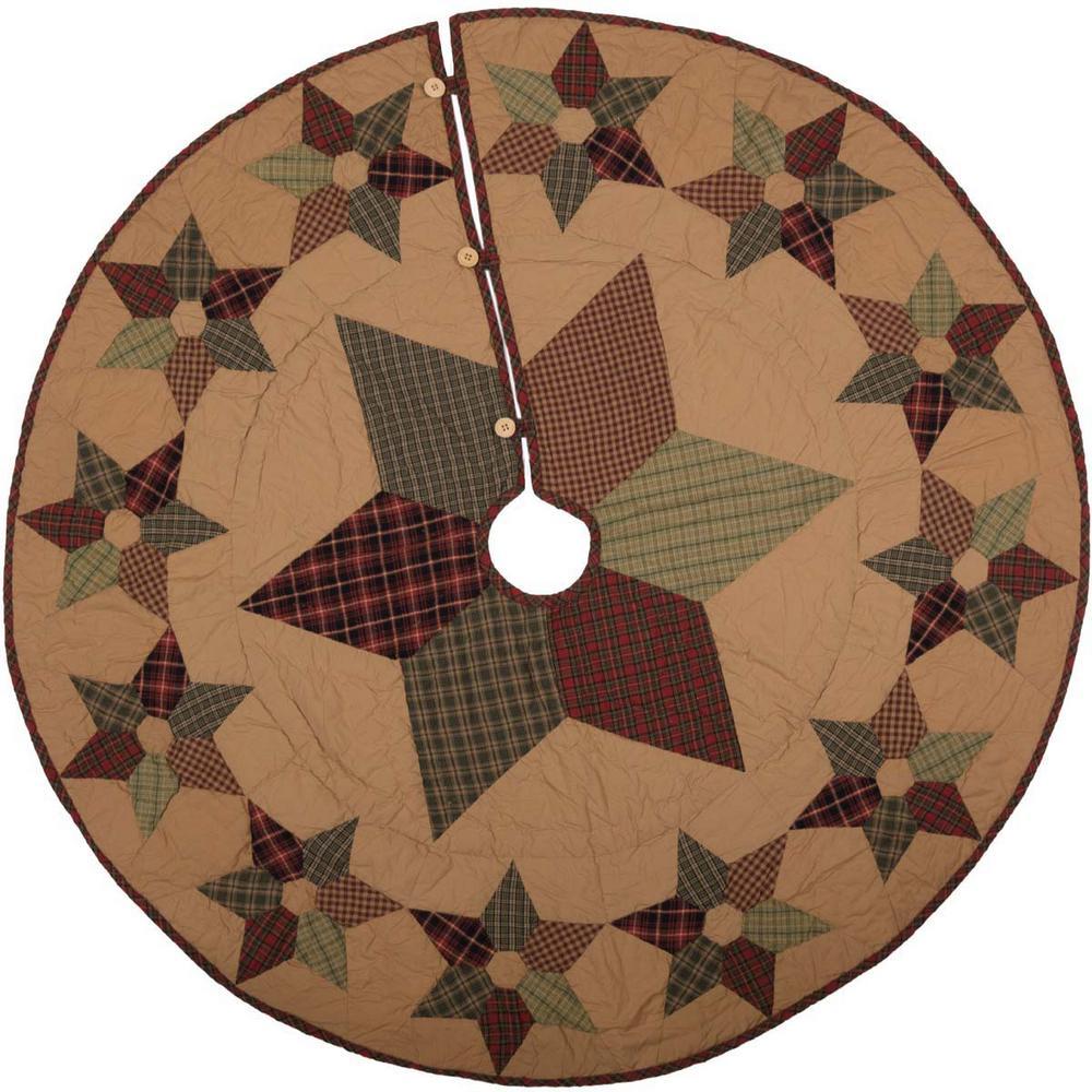50 in. Tea Star Dark Tan Traditional Christmas Decor Mini Tree Skirt