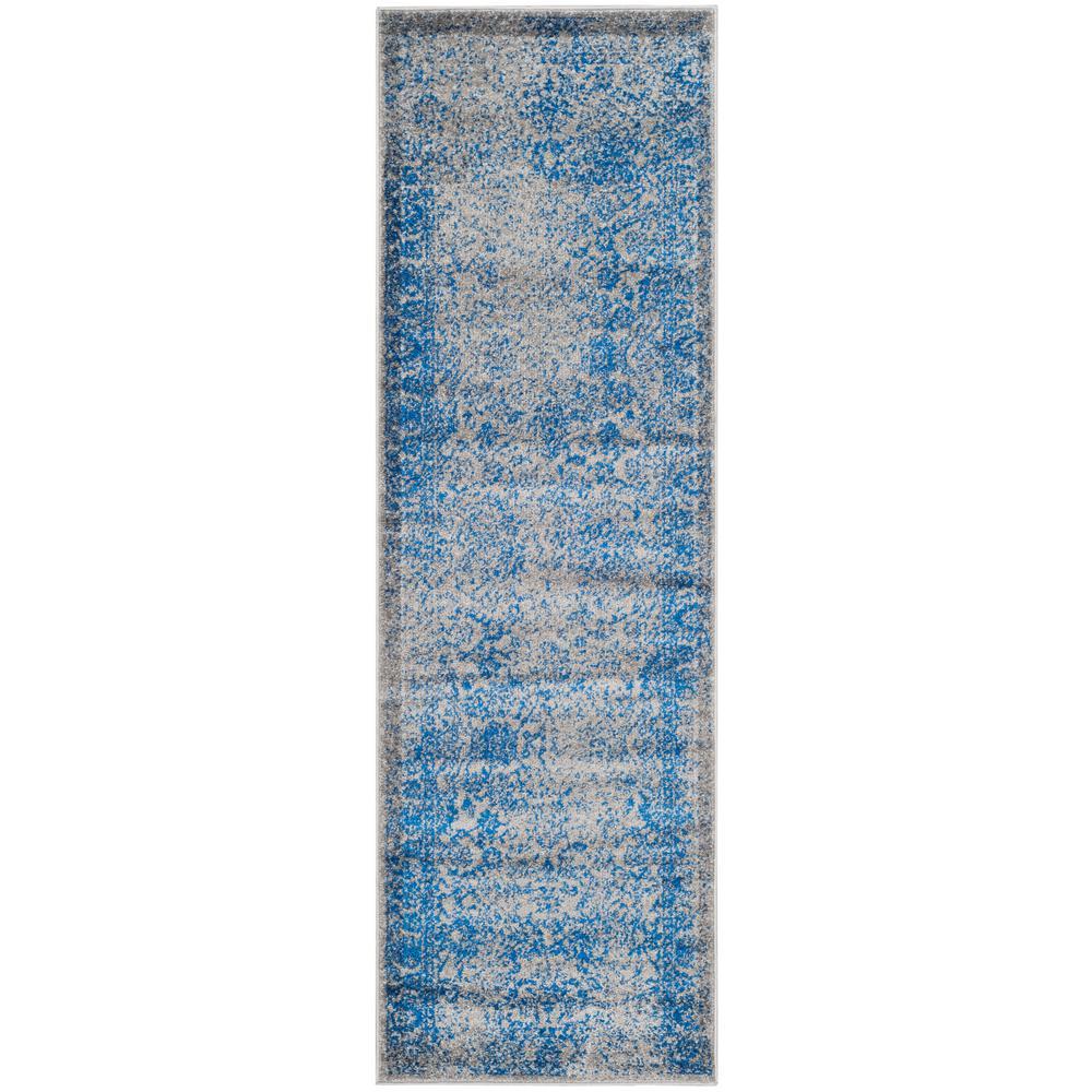 Farrah Gray/Blue 3 ft. x 10 ft. Runner Rug