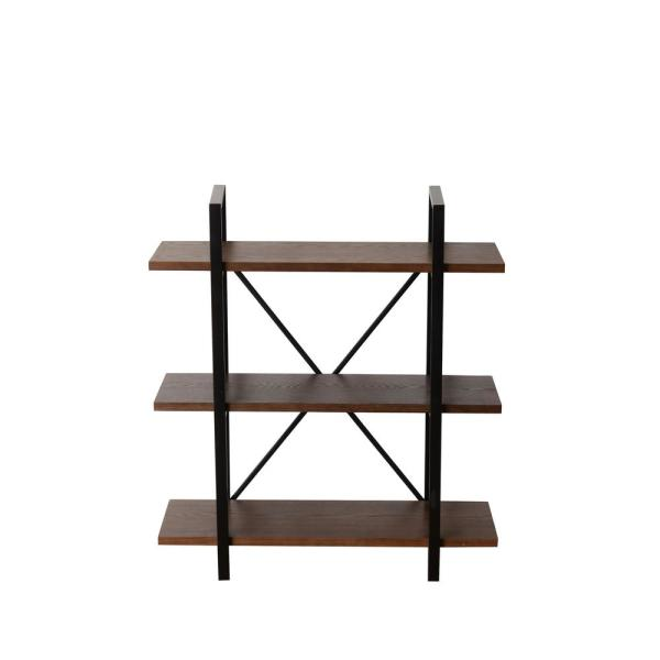 39.8 in. Walnut Brown Metal 3-shelf Etagere Bookcase with Open Back