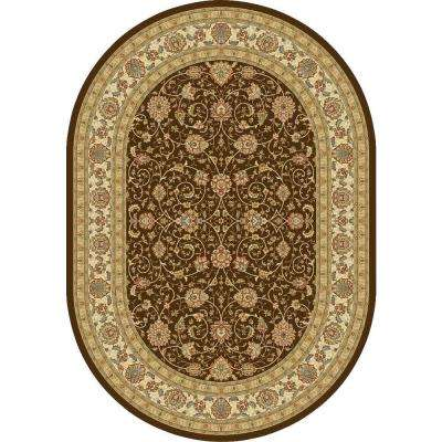 Vaughan Chocolate/Ivory 5 ft. 3 in. x 7 ft. 7 in. Oval Indoor Area Rug