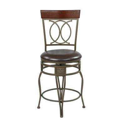24 in. Cosmo Metal Swivel Barstool in Espresso Faux Leather Seat