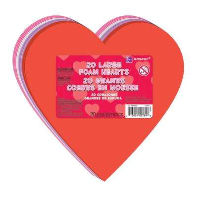 6 in. Valentine's Day Foam Large Craft Hearts (20-Count, 5-Pack)