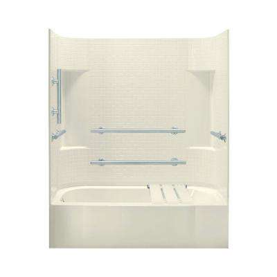 Accord 30 in. x 60 in. x 72 in. Standard Fit Bath and Shower Kit in Biscuit