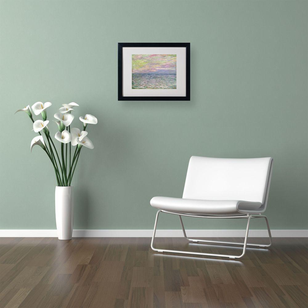 Trademark Fine Art 11 in. x 14 in. Coucher De Soleil a Pourvil Matted Black Framed Wall Art