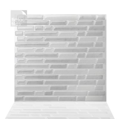 Como White 10 in. W x 10 in. H Peel and Stick Self-Adhesive Decorative Mosaic Wall Tile Backsplash (5-Tiles)