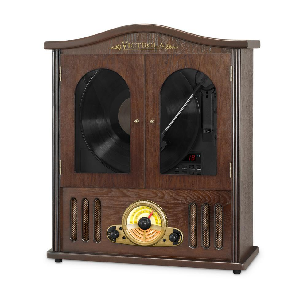 Wall Mounted Record Player with CD and Boombox Our classic wooden wall mounted Victrola record player is perfect for tight spaces and puts a stylish twist on a classic look. Listen to any music medium you wish. Play vinyl, cassettes, cd's or stream your music wirelessly.