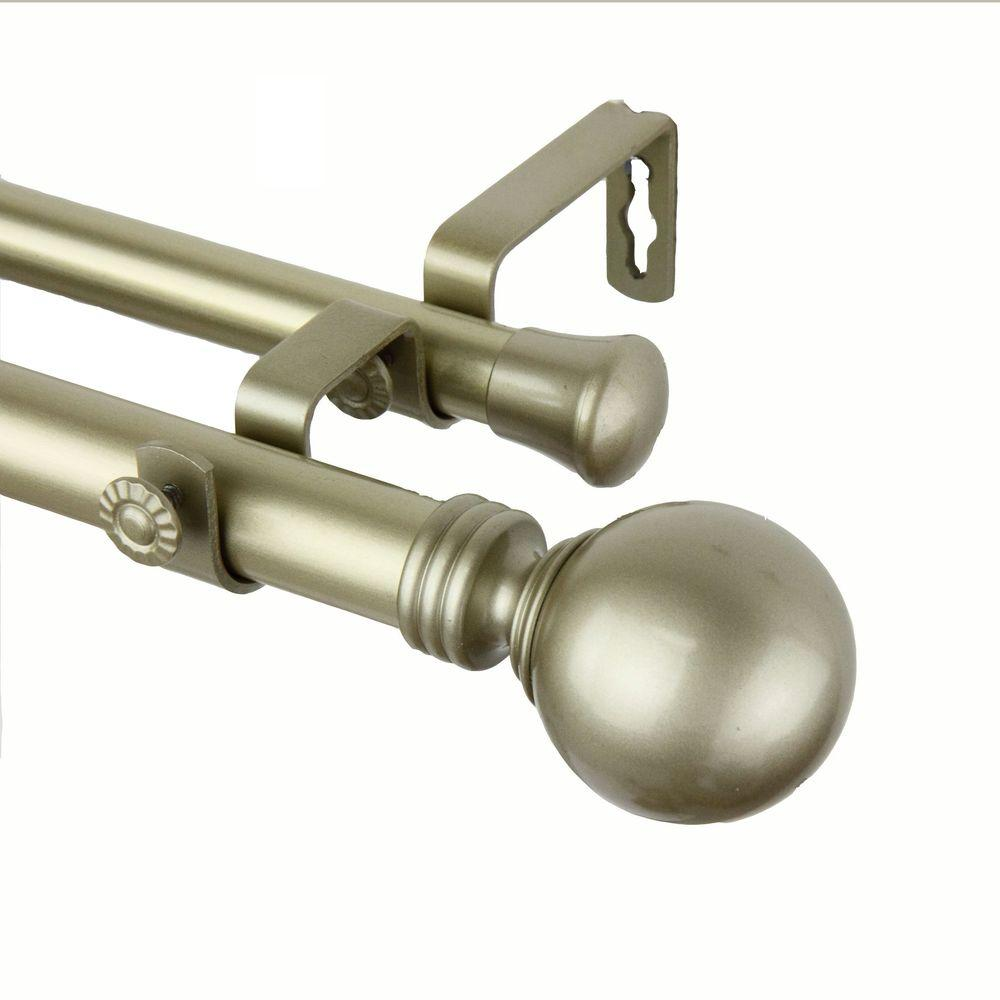 Rod Desyne 28 In 48 In 1 In Globe Double Curtain Rod Set In Light Gold 100 01 283 D The