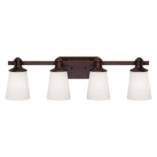4-Light Rubbed Bronze Vanity Light with Etched White Glass