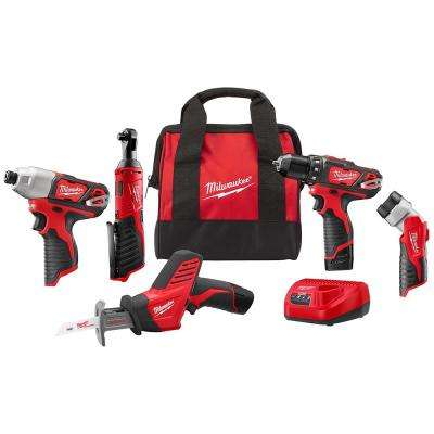 M12 12-Volt Lithium-Ion Cordless Combo Kit (5-Tool) with (2)1.5Ah Batteries, Charger and Tool Bag