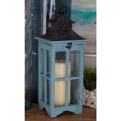 Pagoda Wood and Glass Lanterns (Set of 2)