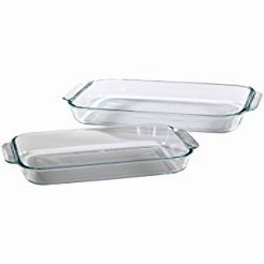 PYREX Basics 2-Piece Rectangular Glass Baker Set, Clear