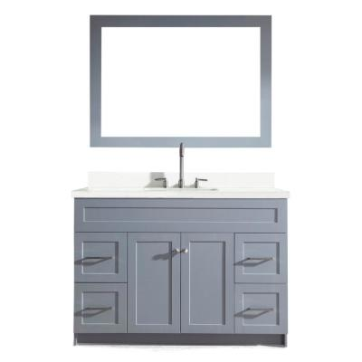 Hamlet 49 in. Bath Vanity in Grey with Quartz Vanity Top in White with White Basin and Mirror