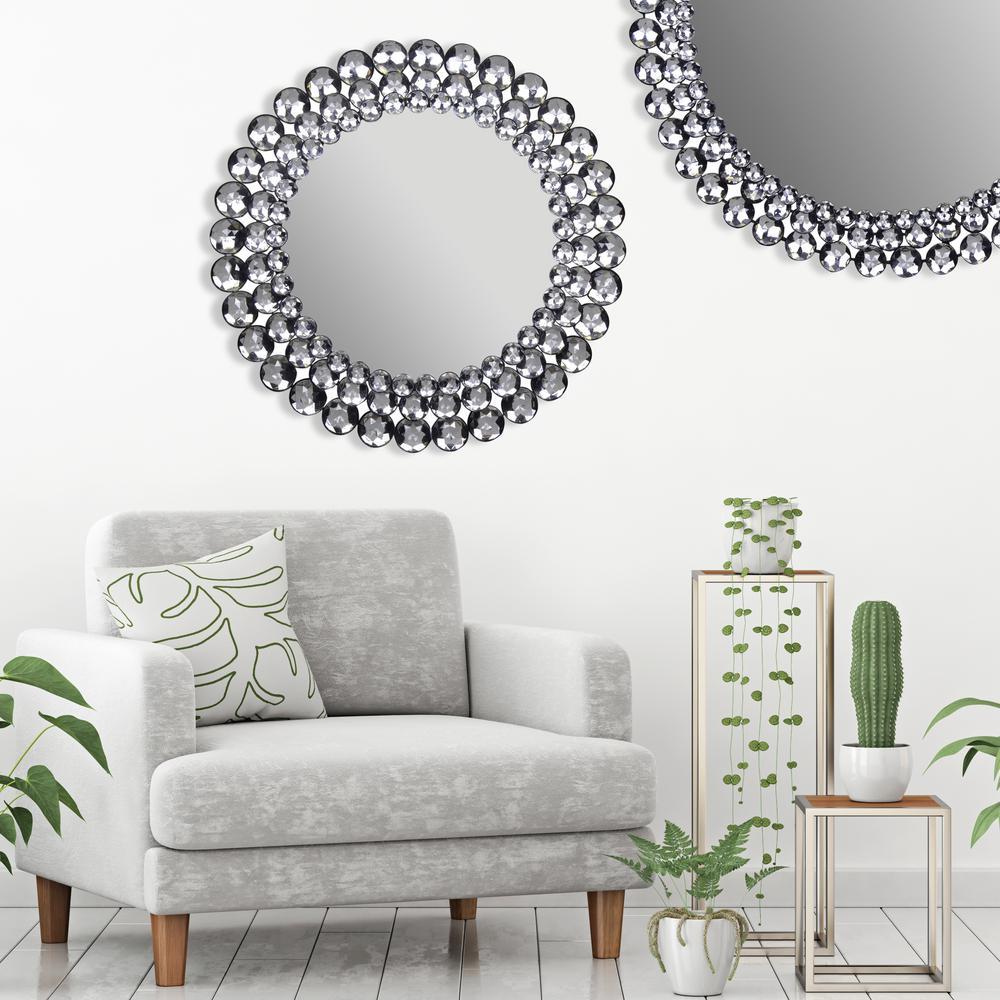 Jeweled Round Silver Decorative Mirror