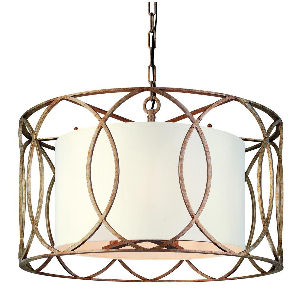 Troy Lighting Sausalito 5 Light Silver Gold Pendant