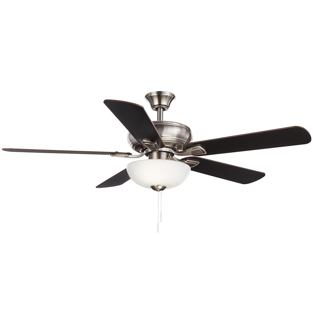 hamptonbay Hampton Bay Rothley II 52 in. Brushed Nickel LED Ceiling Fan with Light Kit