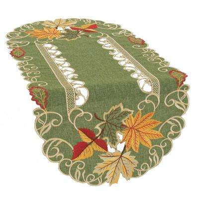 0.1 in. H x 16 in. W x 34 in. D Delicate Leaves Embroidered Cutwork Fall Table Runner