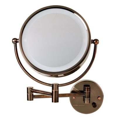 Dual 2 in. W x 14.6 in. H Wall Mounted Mirror 1X and 7X Magnification LED 360 Vanity Bi View Mirror in Antique Bronze