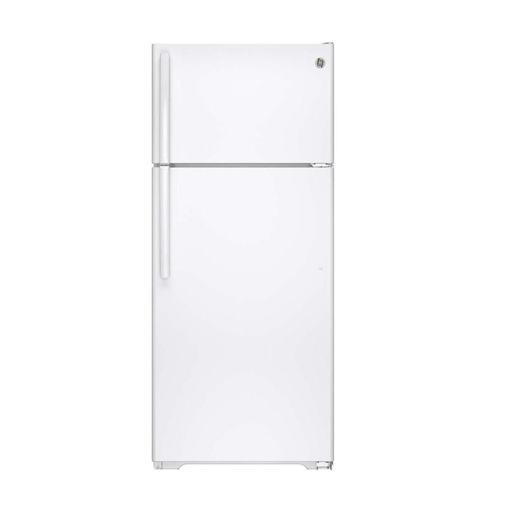 GE 17.5 cu. ft. Top Freezer Refrigerator in White, with I...