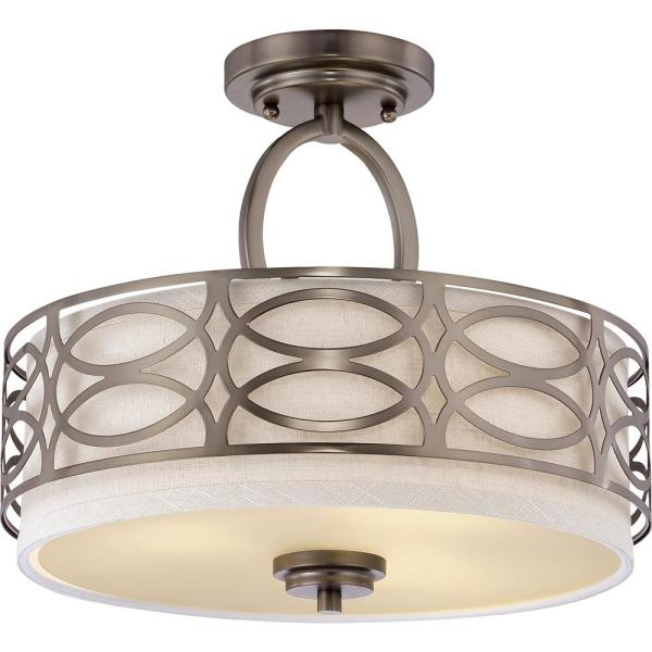 Heart 15 in. 3-Light Hazel Bronze Semi-Flush Mount