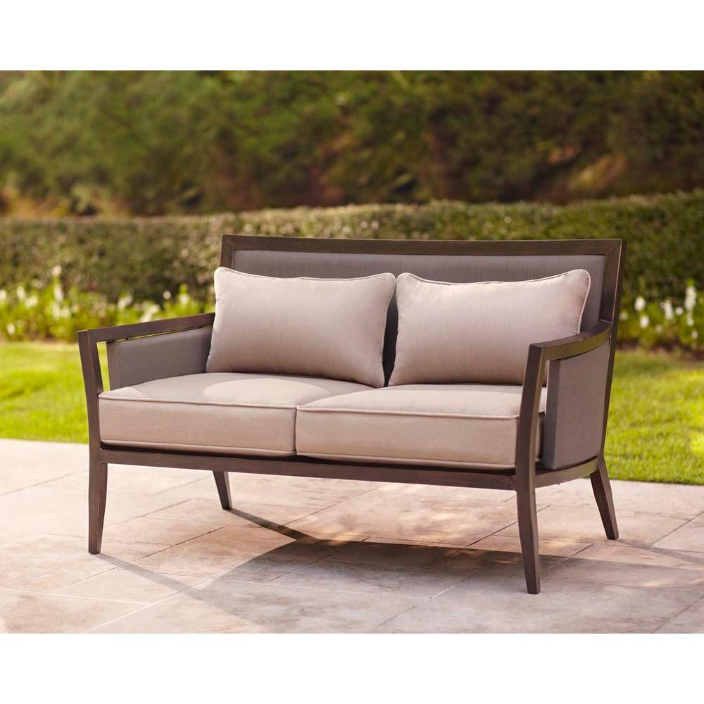Brown Jordan Greystone Patio Loveseat With Sparrow Cushions    STOCK
