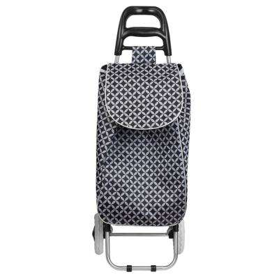 Geometric Pin Wheel Non-Woven Fabric 2-Wheeled Rolling Cart in Black