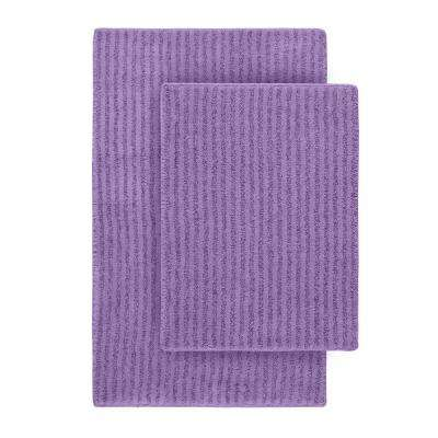 Sheridan Purple 21 in. x 34 in. Washable Bathroom 2-Piece Rug Set