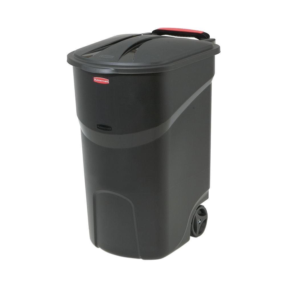 Rubbermaid Roughneck 45 Gal Black Wheeled Trash Can With Lid