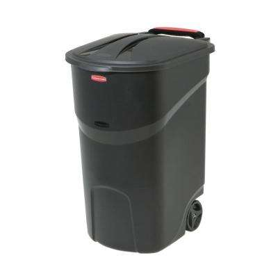 Roughneck 45 Gal. Black Wheeled Trash Can with Lid
