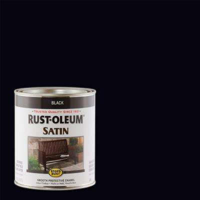 1 qt. Satin Black Protective Enamel Paint (Case of 2)
