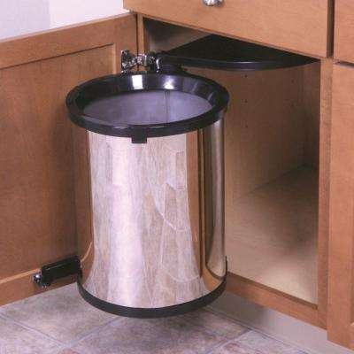 20 in. H x 14 in. W x 13 in. D Plastic In-Cabinet Pivot Out Trash Can in Silver