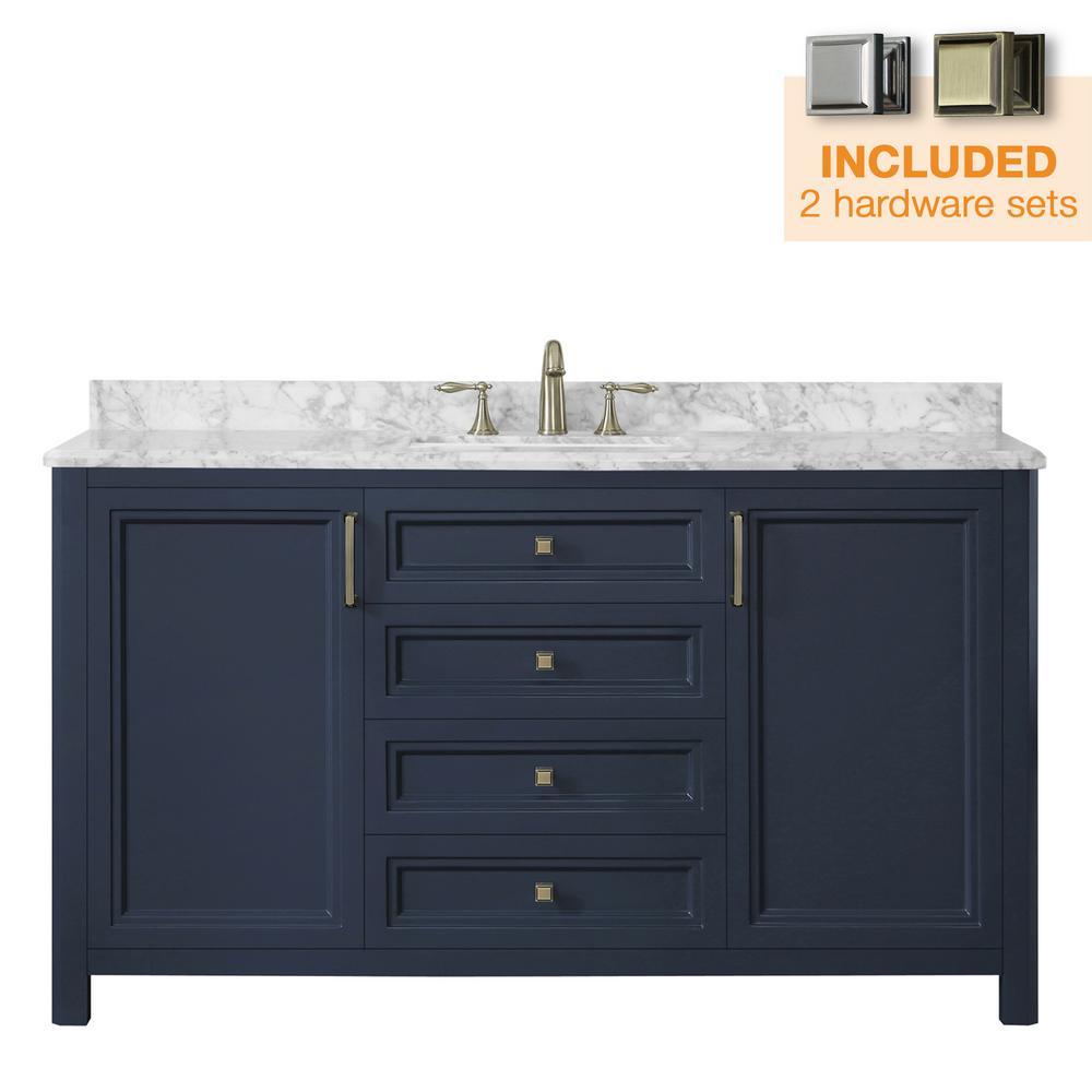 Home Decorators Collection Sandon 60 in. W x 22 in. D Bath Vanity in  Midnight Blue with Marble Vanity Top in Carrara White with White Basin