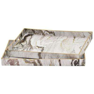 1.5 in. Black and White Marbled Trays (Set of 2)